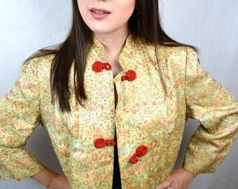 Gorgeous Eastern Floral Brocade Asian 1960s 60s Vintage Jacket Robe - Evelyn Pearson