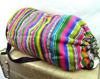 Vintage Rainbow Guatemalan Fabric Drawstring Pouch Rucksack Backpack