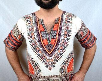 Vintage 70s Ethnic Boho Batik Dashiki Caftan Shirt