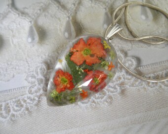Peach Verbena,Yellow-Lime-Orange Queen Anne's Lace, Ferns Pressed Flower Glass Teardrop Pendant-Symbolizes Peace,Enchantment-Gifts Under 30