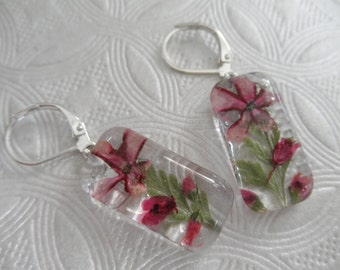 Pink Pinwheel Verbena,Pink Heather,Veronica Pressed Flower Glass Rectangle Domed Earrings-Gifts Under 30-Symbolizes Enchantment, Admiration