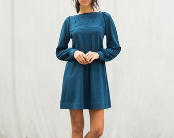 Sale, extra small, Folded Swing Dress with Long Sleeves, women's dress, jersey dress- ready to ship