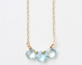 Gold Fill Sky Blue Topaz Necklace / Three Stone Blue Topaz Necklace / Small Blue Gemstone Necklace / December Birthstone Jewelry