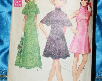 1960s Simplicity A line dress pattern Number 3489 butterfly sleeves size 10