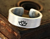 LOTUS FLOWER Aluminum Ring, Handcrafted, Multiple Designs Available, Brushed Matte Finish, Gently Adjustable, Made to Order