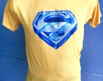 1980s Superman vintage tee shirt - yellow size medium/large