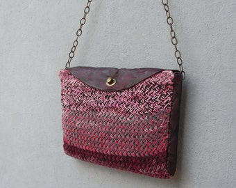 Purple Knitted Leather Purse Laptop Tablet Bag