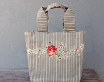 Stripes and Flowers Tote Ticking and Applique