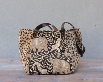 Leopard and Elephant Bag - Cotton and Leather - Out of Africa
