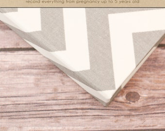 Baby Book (Pregnancy - 5 years) - Grey and White Chevron  (136 designed journaling pages & personalization with every album)