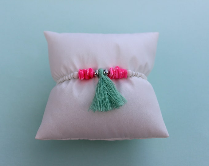 Hot Pink and Turquoise Tassel Bracelet.