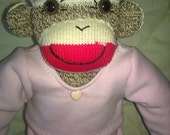 Sock Monkey Girl Doll in Pink Sweatsuit and Tennis Shoes OOAK