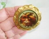 Cat Vintage Jewelry   KL Design Animal Brooch Gold Tone
