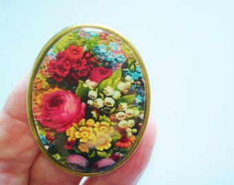 Roses Lily of Valley Flowers Brooch KL Design