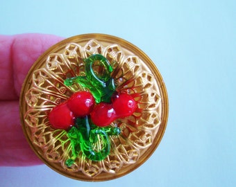 Cherries Red Green Glass Gold Tone Brooch Brooch