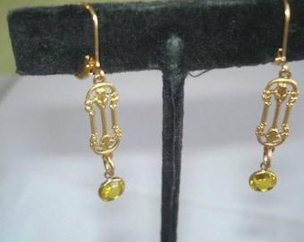 Earrings Lemon Yellow Crystal Gold Tone