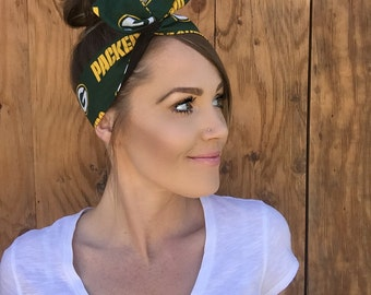 Green Bay Packers Green Yellow White Black Dolly Bow Reversible Rockabilly Football Headband Pinup Headscarf Hair Band Head Wrap Wire