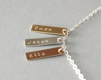 Personalized Tag Name Necklace, Customized Mother's Necklace with Kid's Names, Gold Mom's Necklace, Sterling Small Bars Name Tag Necklace