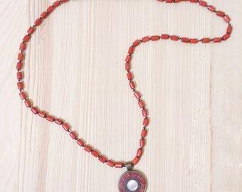 Mosaic Pendant Red Coral 1 inch, Mosaic Accessories, Mosaic Jewelry, Statement Jewelry, Boho, Bohemian Ethnic Mediterranean Pendant