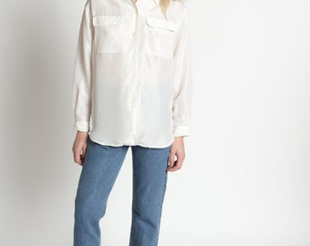 Vintage 90s Ivory Long Sleeve Silk Button Up Blouse with Pockets | S