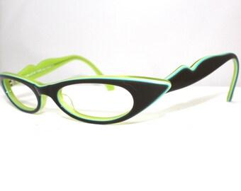 Jean La Font  Catseye Eyeglasses // Vintage Designer Frames // Oval // Paris, France // LOLA 616 46 421//rh511
