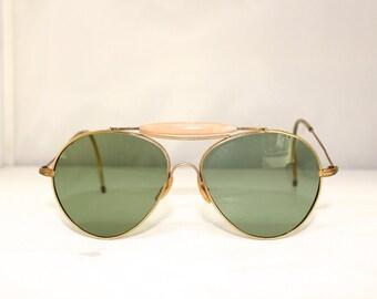 Rare Vintage 1940s 50s Sunglasses // Pilot Aviator Style Sunglasses // Green Lens RH778