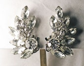 Vintage Very Large Crystal Rhinestone Statement Clip Climber Earrings (E-1-6)