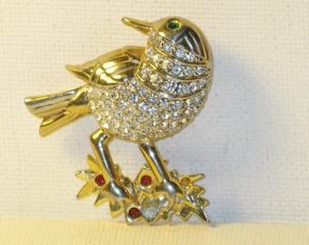 Vintage Crystal Rhinestone Bird Brooch Pin (B-3-7)