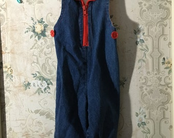 Girls denim overalls with red calico print 12m