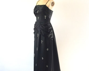 Black Satin Formal Evening Gown 1960s Vintage Beaded Draped Fishtail Maxi Dress XS