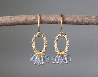 Tanzanite Earrings - Blue Quartz Earrings - Gold Dangle Earrings - Bridal Jewelry - Wire Wrap Earrings Gold - Blue Gemstone Earrings - Gift