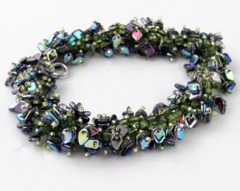 "Green Triangular Bead ""Shaggy"" Bracelet"
