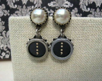 Typewriter Key Jewelry - Post Earrings -  Colon and Semi Colon Keys - No E137