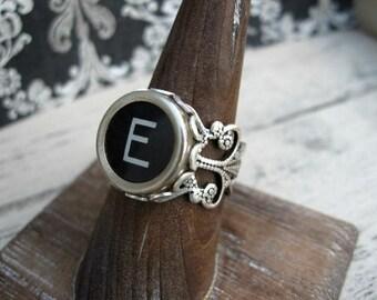 Antique Typewriter Key Ring Initial E