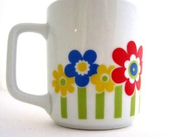 NORITAKE FLOWER POWER Coffee Mug Cup Vintage Japan