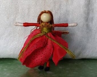 Red Mini Flower Fairy, Art Doll, 2 inch doll, Waldorf, Art Doll, Worry Doll