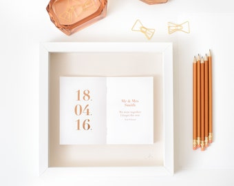 Personalized Wedding Date Picture/ Wedding Gift/ Gold Foil/ Personalised Anniversary Gift/ Bespoke Wedding Art