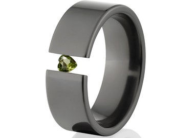 Tension Set Rings, Heart Peridot, 8mm Black Ziconium, BZ-8F-P-Heart-Tension