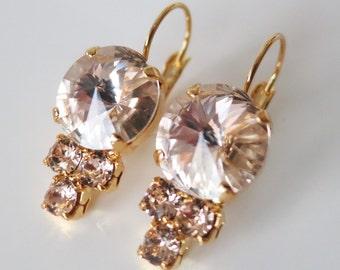 Blush Earrings,Peach Drop Earrings,Crystal Peach Earrings,Bridal Earrings,Gift to Wife,Made with Swarovski® crystals,Wedding Earrings