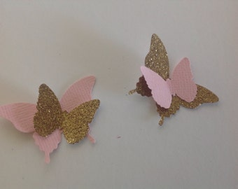 Beautiful 100 pc Pinks and Golds Paper Butterflies
