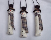 Primitive Snowman Ornament or Gift Tag set of 3 skinny miniature ornies OFGHGG
