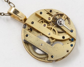 Steampunk Necklace Antique Gold Pocket Watch Movement with Gears and Genuine Ruby Jewels Victorian Clockwork Pendant Statement Necklace 2856