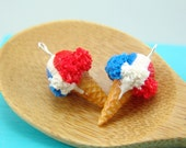 Ice Cream Earrings // Red, White and Blue Ice Cream Food Jewelry // MADE TO ORDER // Miniature Food Earrings