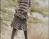 Skirt - Steampunk - Bohemian - Burning Man - Playa Wear - Gothic - Gypsy Boheme - Short Skirt - Black - Sexy - Size Medium