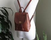 Vintage COACH Backpack Leather Small Tan Cognac Brass Hardware Day Pack 1990s