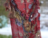 Red dress with blue flowers--  whimsy bohemian dress, silk, embroidered, reworked
