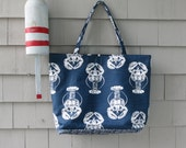 SALE Lobster tote,nautical tote,navy tote,beach tote,boat tote, Maine tote, Maine gift,baby bag was 72.00