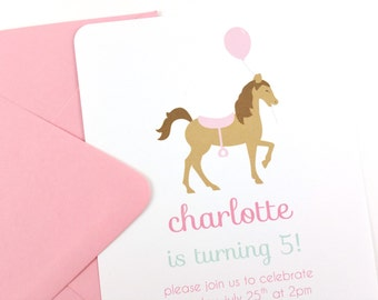 Pink Horse Party Invitations, Horse Birthday Invitations, Horse Invitations - SET OF 12