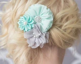 mint flower hair clip, grey hair clip, gray flower clip, aqua flower clip, girl hair accessory, flower girl clip, flower hair clip, birthday