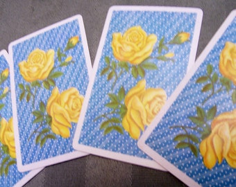 4 Vintage Playing Cards yellow roses  swap cards
